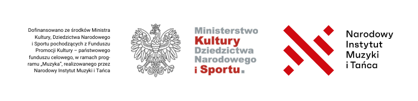 Ministerstwo Kultury Dziedzictwa Narodowego iSportu orazNarodowy Instytut Muzyki iTańca logotypy dofinansowanie